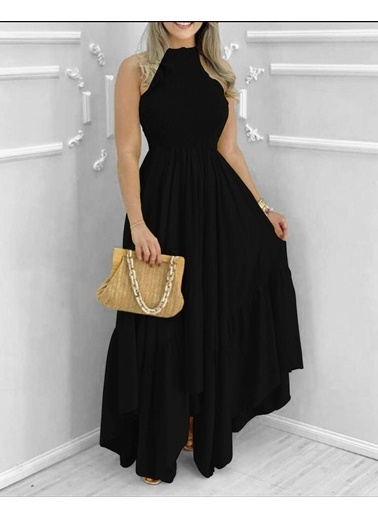 BLACK&GRACE Bayan Yeşil  Full Gıpelı Altı Capraz Elbise Siyah